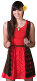 Energetic Young Lady in Red. Energetic Mexican woman in red and black on isolated background royalty free stock photos