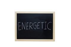 ENERGETICO scritto con gesso bianco sulla lavagna Fotografia Stock Libera da Diritti