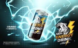 Energetyczna napój reklama ilustracja wektor