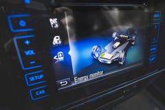 Energetycznego monitoru hybrydowy samochód Obrazy Stock