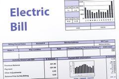 Energetycznego rachunku papier tworzy na sto?owym zbli?eniu obraz stock