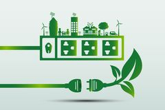 Energetyczni pomysły save światową pojęcie władzy prymki zieleni ekologię Obraz Royalty Free