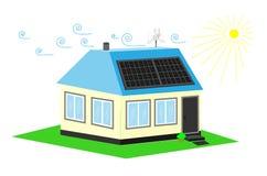 Energi-besparing eller Energo-passivum hus Resurser för alternativ energi Royaltyfri Foto
