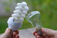 Energi - besparing- eller glödlampa? Primat problem Arkivbild