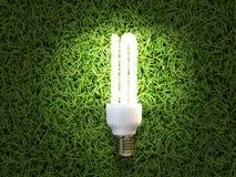 Energi-besparing lampa i grönt gräs fotografering för bildbyråer