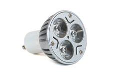 Energi - besparingen LEDDE den ljusa kulan på vit bakgrund Royaltyfri Foto