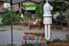 Energi - besparinglampor används brett Arkivfoto