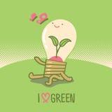 Energi - besparinglightbulb i tecknad filmstil Stock Illustrationer