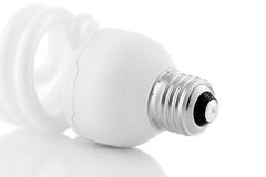 Energi - besparinglightbulbbotten som isoleras på vit bakgrund Royaltyfri Fotografi