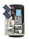 Energi-effektivt hus på en smart telefon royaltyfri illustrationer