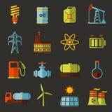 Energi elektricitet, uppsättning för symbol för maktvektorlägenhet Arkivbild