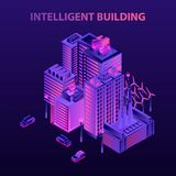 Energi - intelligent byggande begreppsbakgrund för besparing, isometrisk stil royaltyfri illustrationer