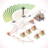 Energi 18 isometriska Infographic Arkivbilder