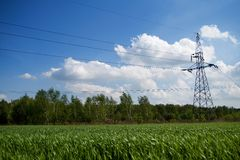 energi lines överföringen Fotografering för Bildbyråer