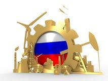Energi- och maktsymboler ställde in med den Ryssland flaggan Arkivbilder