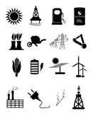 Energi- och maktsymbolsuppsättning Arkivfoton