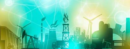 Energi- och maktsymbolsuppsättning Titelradbaner royaltyfri illustrationer