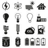Energi- och resurssymbolsuppsättning Royaltyfri Bild