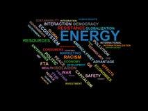 Energi - ordmolnwordcloud - uttryck från den globalisering-, ekonomi- och politikmiljön royaltyfri illustrationer