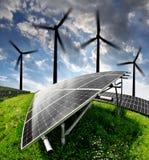 energi panels sol- turbinwind Arkivbilder