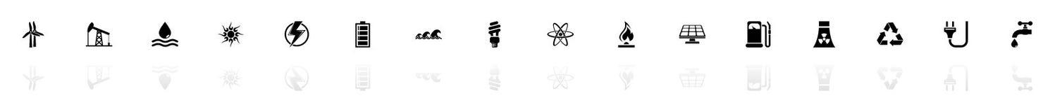Energi - plana vektorsymboler stock illustrationer