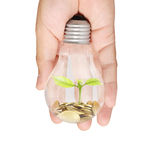 Energi - sparande ljus kula, idérik idé för ljus kula i hand Royaltyfri Bild