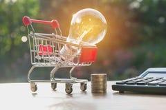 Energi - sparande ljus kula med buntar av mynt och shoppingvagnen arkivbild