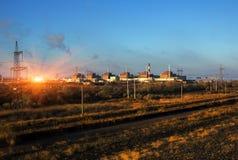 Energia Atomowa elektrownia jądrowa zmierzch Zdjęcie Royalty Free