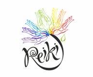 Energia de Reiki logotype Energia da cura Flor do arco-íris das palmas do homem Medicina alternativa espiritual ilustração stock
