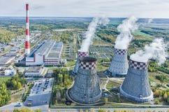 Energia della città e centrale elettrica calda Tjumen' La Russia Immagine Stock