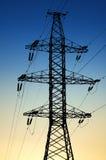 Energia elettrica di trasferimento sulla distanza Fotografia Stock