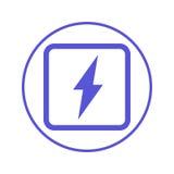 Energia elettrica, linea circolare icona del bullone di fulmine Segno rotondo Simbolo piano di vettore di stile illustrazione di stock