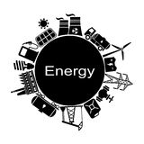 Energia, elettricità, fondo di vettore di potere Fotografie Stock Libere da Diritti