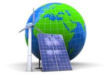 Energia eolica e solare Fotografie Stock
