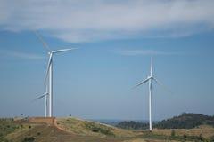 Energia eolica sulla montagna Fotografia Stock Libera da Diritti
