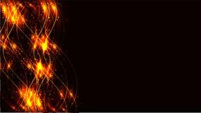 A energia mágica cósmica mágica brilhante abstrata transparente do fogo de artifício amarelo dourado alinha, irradia com brilho e ilustração royalty free