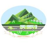 Energia oval do verde da ilustração com paisagem da montanha, estrada cinzenta, ônibus do eco, carro do eco ilustração stock