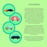 Energia pulita infographic con l'icona dell'automobile piana illustrazione vettoriale