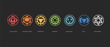 Energia que cura, vetor sagrado de Chakras da geometria Imagens de Stock