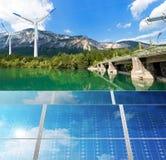 Energia renovável - água do vento da luz solar Fotografia de Stock