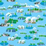 Energia renovável da ecologia do teste padrão sem emenda, conceito alternativo dos recursos do poder verde da cidade, economias d Foto de Stock