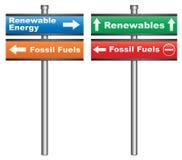 Energia renovável ou combustíveis fósseis Foto de Stock