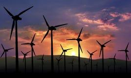 Energia rinnovabile Eolian dell'azienda agricola Immagine Stock