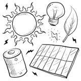 A energia solar objeta o esboço Foto de Stock Royalty Free