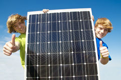 Energia solar - polegares acima Imagem de Stock Royalty Free
