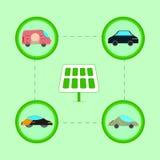 Energia solare con l'icona dell'automobile piana Immagini Stock Libere da Diritti