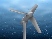 Energia subacquea del fiume del colpetto della turbina Fotografia Stock