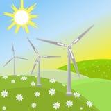 Energia verde do vento Imagens de Stock Royalty Free