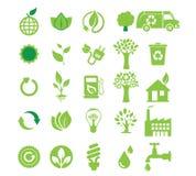 Energia verde, insieme dell'icona Fotografia Stock