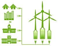 Energia verde proveniente dal mulino di vento ed icona verde Fotografia Stock